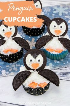 Check this easy & yummy Penguin Cupcakes that your kids will surely like. Recipe is available at the link below #easycupcakes #penguincupcakes #penguins  #cupcakes #funfood #desserts #sweets Christmas Recipes For Kids, Edible Christmas Gifts, Christmas Side Dishes, Christmas Party Food, Christmas Cupcakes, Christmas Treats, Penguin Cupcakes, Kid Cupcakes, Cupcake Party