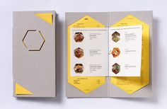 menu for cafe Miel designed by studio fnt, Korea Book Design, Layout Design, Print Design, Web Design, Design Ideas, Restaurant Menu Design, Restaurant Branding, Brochure Layout, Brochure Design