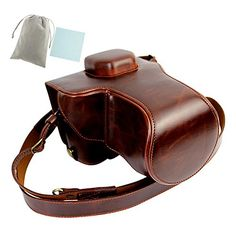 No2 Warehouse New Style PU Leather Camera Case Bag With Shoulder Strap for Sony ILCE7M2 A7 Mark II A7Rii R2 with 2470mm lens dark brown a Piece of Clean Cloth * Check out this great product. (Note:Amazon affiliate link)