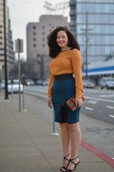 jupe crayon et chemisier pour femme ronde