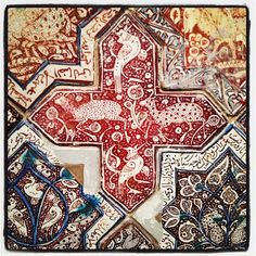 Mosaic Art, Mosaic Tiles, Ancient Persian, Persian Pattern, Arabesque Pattern, Islamic Patterns, Antique Tiles, Moroccan Design, Panel Wall Art