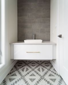 We love this timeless bathroom by Triform Construction 🤍 Timeless Bathroom, Bathroom Gallery, Geometric Designs, Tile Patterns, Cuban, Wall Tiles, Flooring, Stone, Euro
