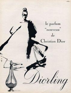 Christian Dior (Perfumes) 1963 Diorling, Gruau Vintage advert Perfumes illustrated by René Gruau | Hprints.com