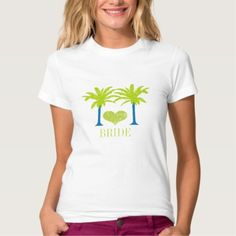 Pretty women's tees with a beach wedding theme to delight: Lime Blue Palm Tree Beach Wedding T-SHIRT - click/tap to see the slideshow for related designs