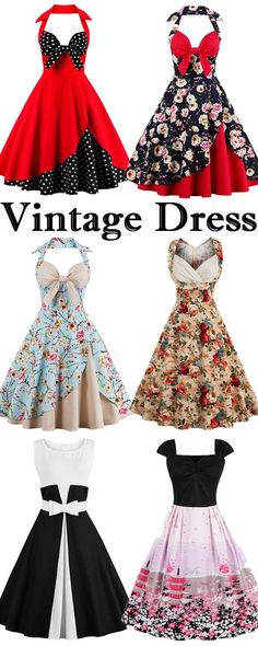 Halter Vintage Floral Polka Dot Dress