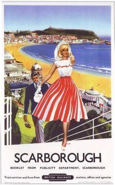 1950's British Railways Scarborough Railway Poster A2 Reprint   eBay