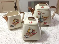 Vintage Stanford Sebring O Pottery Teapot Cream by TheGnarledRoot