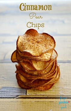 I have given apples a lot of attention with my baking this fall and in the process have neglected another delicious fruit that this season brings- apple's cousin, Mr. Pear. These cinnamon pear chips are a great and easy way to enjoy this sweet