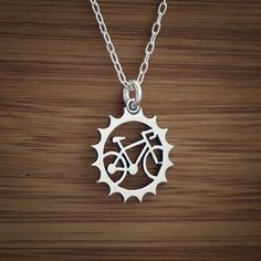 Sterling Silver Bicycle Charm  - (Just the charm, chains are sold separately.). $14.00, via Etsy.
