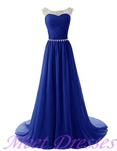 VERY cute 2015 Modest Beaded Bridesmaid Dress Royal Blue Prom Dresses With Sparkling Embellished Waist Chiffon Formal Gowns · meetdresses · Online Store Powered by Storenvy