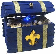 blue and gold centerpiece - or holder for instant recognition beads