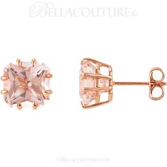 BELLA COUTURE ® - (NEW) Bella Couture® Gorgeous Radiant Cushion Cut 5CT Pink Morganite 14k Rose Gold Earrings (9MM), $595.00 (http://www.bellacouture.com/new-bella-couture-gorgeous-radiant-cushion-cut-5ct-pink-morganite-14k-rose-gold-earrings-9mm/)