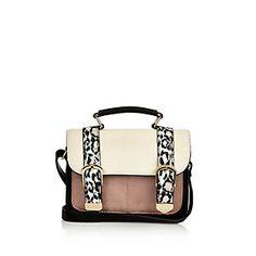 Girls white animal print satchel handbag