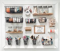 DIY Craft Pegboard (and where to buy all the items to make it! Pegboard Craft Room, Pegboard Organization, Craft Desk, Kitchen Pegboard, Craft Room Storage, Craft Rooms, Tool Storage, Pegboard Display, Ideas For Craft Room