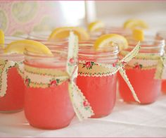 Bridal shower...Love this idea of tying ribbon around Mason jars for lemonade.