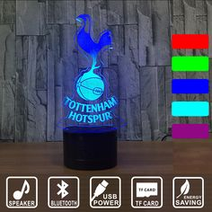 Tottenham Hotspur TTNM Night Light Football Club 3D Illusion Table Lamp 7 Color Changing Luminaria Bluetooth Lights IY803007B. Yesterday's price: US $33.00 (27.07 EUR). Today's price: US $29.04 (23.91 EUR). Discount: 12%.