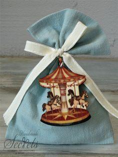 Μπομπονιέρα βάπτισης πουγκί με θέμα καρουζέλ για αγόρια, annassecret, Χειροποιητες μπομπονιερες γαμου, Χειροποιητες μπομπονιερες βαπτισης