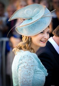 Hereditary Grand Duchess Stephanie of Luxembourg hat details during the wedding of Prince Felix and Princess Claire in France, 21 Sep 2013.