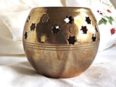 Brass Tealight, Home Decor, Stars, Retro Brass Tealight, Made in India, Vintage Brass, Candlelight, Cottage Decor by AgedwithGraceVintage on Etsy