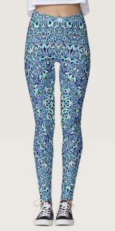 Shop Light Blue Floral Life Mandala Leggings created by ZyddArt. Blue Leggings, Printed Leggings, Bohemian Style, Bohemian Clothing, Yoga Fashion, Boho Outfits, Light Blue, Yoga Gifts, Apparel Clothing