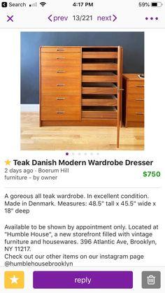 The wardrobe dresser may be a good choice for us to maximize storage Wardrobe Dresser, Boerum Hill, Modern Wardrobe, Danish Modern, Teak, Storage, Birthday, Room, Diy