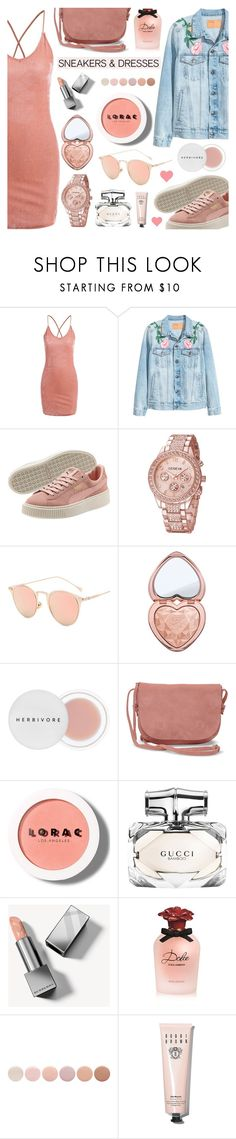 """""""Sporty Chic: Sneakers and Dresses"""" by dora04 ❤ liked on Polyvore featuring Too Faced Cosmetics, Herbivore, TOMS, LORAC, Gucci, Burberry, Dolce&Gabbana, Deborah Lippmann, Bobbi Brown Cosmetics and SNEAKERSANDDRESSES"""