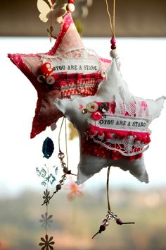You are a star mixed media fabric assemblage #stuffed