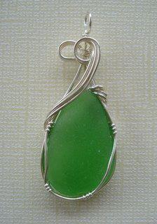 Sea glass pendant. #sea glass beads & #sea charms: http://www.ecrafty.com/c-780-sea-glass-beads.aspx?pagenum=1===newarrivals=60