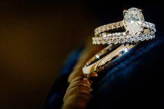 Wedding rings on blue velvet