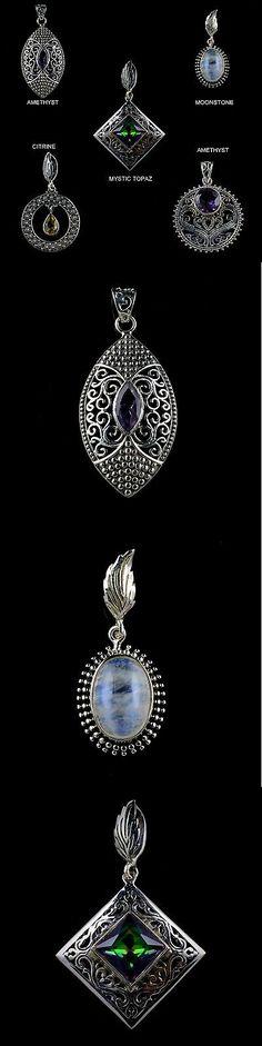 Pendants and Lockets 45079: Natural Multi Gemstone Pendants Wholesale Lot 925 Sterling Silver Kjw001 -> BUY IT NOW ONLY: $64.99 on eBay!