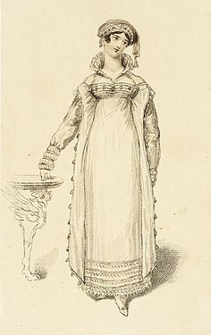 La Belle Assemblee, March 1816.  Costume for dinner parties.   Ooooh!  I love the detail at the bottom of her sleeves!
