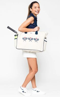 Ame & Lulu Ladies Love All Tennis Court Bags - Crossed Racquets