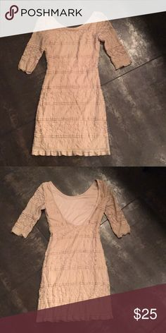 Beautiful body Con dress ❤️ Super cute body con dress purchased at Foreign Exchange.   Never worn!  NWOT.   More like a dusty rose color.  Very cute with scoop back Foreign Exchange Dresses Mini