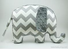 Chevron Elephant Nursery, Organic Cotton, Elephant Pillow, Modern Nursery Decor, charcoal gray chevron