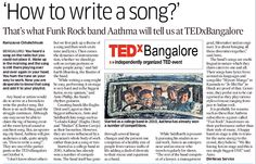 """1 October 2014 An upcoming city band, Aathma will give audiences a talk, quite simply on, """"How to write a song? They are one of the participants at the TEDxBangalore on October Social Media Impact, Up Theme, October 4, Rock Bands, Songs, Writing, City, Song Books, Being A Writer"""