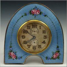 Beautiful Silver Guilloche Enamel Desk Clock w Swiss Movement