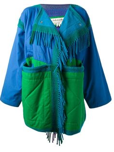 Blue and green wool and cotton blend oversized coat from Jc De Castelbajac Vintage featuring a round neck, fringed front trim, a front snap fastening and long sleeves.
