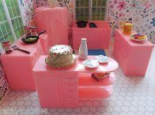 Plasco 5 PC KITCHEN Vintage Ideal Renwal Tin Dollhouse Furniture Plastic  1:16