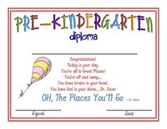 Pre K Graduation Ideas | Cat in the Hat Kindergarten Diplomas - Missy Gibbs ...