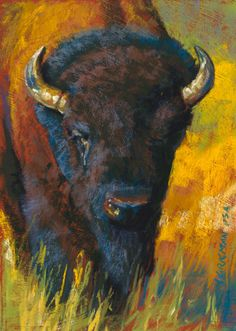 """Attila"" - Original Fine Art for Sale - © Rita Kirkman Buffalo Animal, Buffalo Art, Buffalo Painting, Miniature Portraits, Nature Artists, Cow Art, Southwest Art, Animal Paintings, Pastel Paintings"