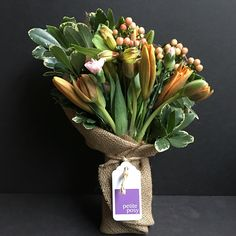 Today's Posy: Double Headed Tulips, Hypericum Berries, Spray Carnation Alstroemeria and Lilies with Variegated Pittosporum. Only $20 delivered right now, plus shipping via UberRUSH! Anywhere in Manhattan and selected parts of Brooklyn and Queens.  #flowers #flower #florist #manhattan #brooklyn #queens #newyork #posy #petite #petiteposy #petiteposyny #DoubleHeaded #Double #Tulips #HypericumBerries #SprayCarnation #carnation #Alstroemeria #lily #Lilies #Variegated #Pittosporum