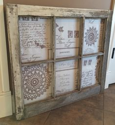 Rustic 6 pane window with material backing ~The Decor Vault~ www.facebook.com/thedecorvault