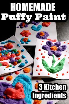 Make your own puffy paint with 3 kitchen ingredients. You put it your microwave and it puffs right up! Make your own puffy paint with 3 kitchen ingredients. You put it your microwave and it puffs right up! Arts And Crafts For Kids Toddlers, Cute Kids Crafts, Art Activities For Kids, Crafts To Do, Projects For Kids, Diy For Kids, Children's Arts And Crafts, Crafts For Preschoolers, Painting Crafts For Kids