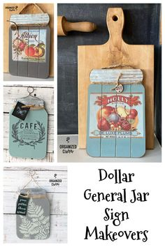 I love the Dollar General jar signs, especially after I give them a boutique style farmhouse makeover. See the details in my link. #dollargeneral #jarsign #farmhousekitchen #redesignwithprima #stencil #upcycle #decortransfers Dollar Store Hacks, Dollar Stores, Farmhouse Style Decorating, Farmhouse Decor, Dollar Store Christmas, Diy Signs, Wood Signs, Jar Crafts, Wood Crafts