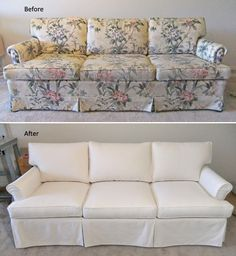 New custom slipcover for old Ethan Allen sofa. Carr-Go Canvas, color Natural.