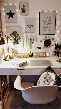 Tumblr inspiré photo bureau, décoration de bureau, image inspiration, coussin avec chat blanc