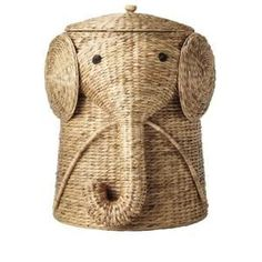 W Animal Laundry Hamper in Natural. Your child will find keeping the bedroom floor clear of clothes a lot more fun with our Animal Hamper. This wicker laundry basket is expertly handcrafted into the shape of a friendly elephant with a curling trunk. Natural Nursery, Nursery Neutral, Brown Nursery, White Nursery, Nursery Storage, Nursery Decor, Safari Nursery, Nursery Ideas, Dumbo Nursery