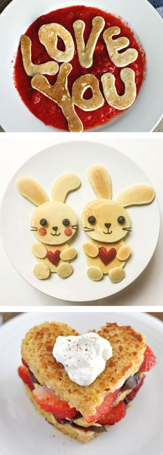 Valentines Day Breakfast Ideas for Kids   Fun food recipes to make for your family including cute pancakes, waffles and healthy options too! Serve in bed or at the table (make sure you have some cookie cutters handy!)