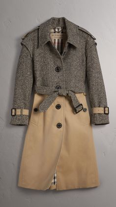 Donegal Tweed and Cotton Gabardine Trench Coat in Natural White/black - Women   Burberry