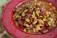 Cowboy Beans....one of our favorites to put in the crockpot, it really is a meal on its own.